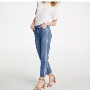 Ann Taylor Straight Crop Side Embroidered Jeans